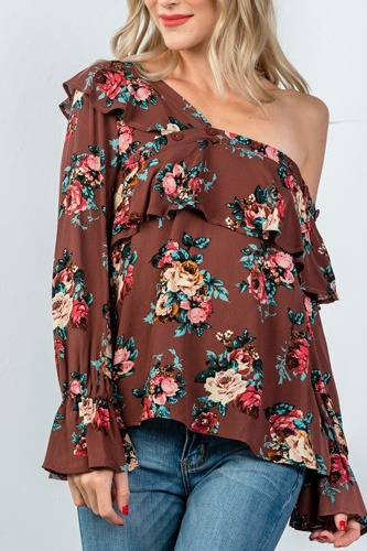 Ladies fashion mocha and floral print one shoulder ruffle blouse-id.CC35432