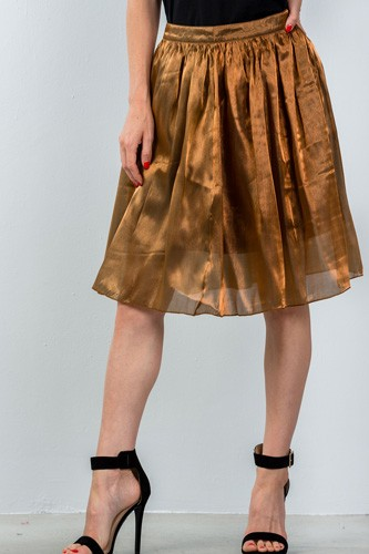 Ladies fashion mid length high waisted bronze pleated midi skirt-id.CC35435
