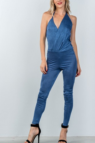 Ladies fashion low back halter lapel drape front jumpsuit-id.CC35438