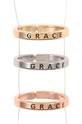 Ladies engraved grace triple ring set-id.CC35441