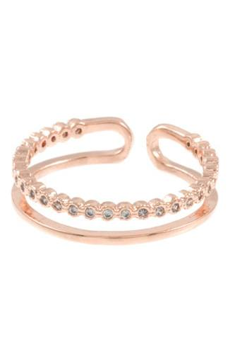 Ladies aligned cz stone pave cuff ring -id.CC35443