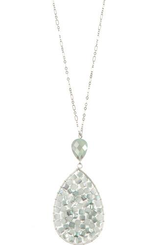 Ladies faceted wired teardrop long necklace-id.CC35447