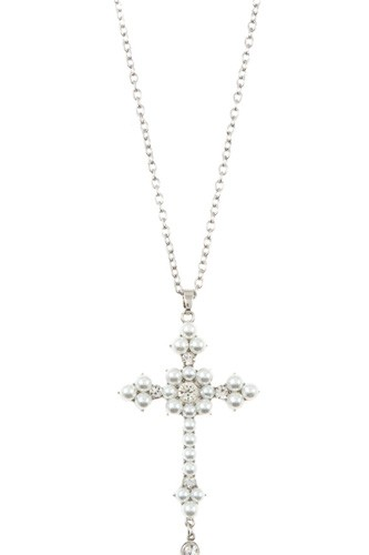 Ladies pearl accent cross pendant long necklace -id.CC35449