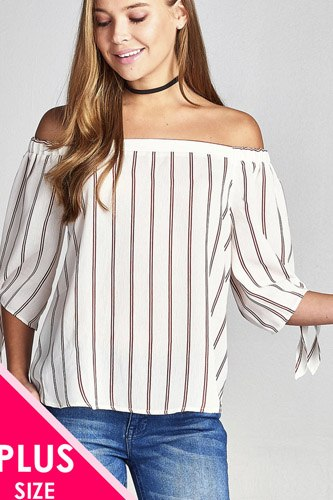 Ladies fashion plus size 3/4 sleeve w/ribbon tie off the shoulder stripe print woven top-id.CC35451b