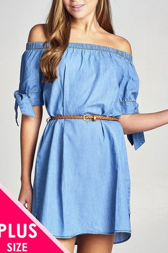 Ladies fashion plus size short sleeeve cuff w/bow tie off the shoulder w/belt chambray dress-id.CC35452