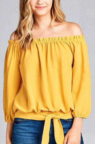 Ladies fashion 3/4 sleeve off the shoulder waist band w/front self tie back smocked detail crepe woven top-id.CC35454b