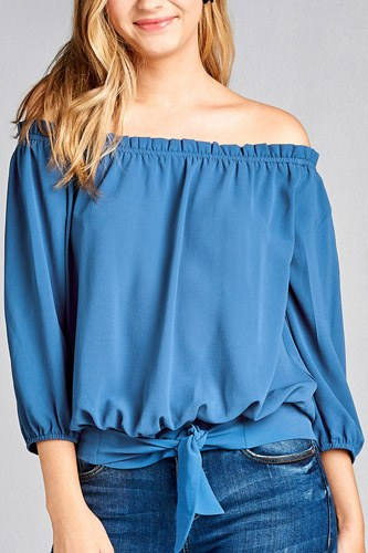 Ladies fashion 3/4 sleeve off the shoulder waist band w/front self tie back smocked detail crepe woven top-id.CC35454c