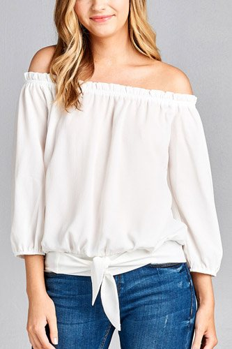 Ladies fashion 3/4 sleeve off the shoulder waist band w/front self tie back smocked detail crepe woven top-id.CC35454d