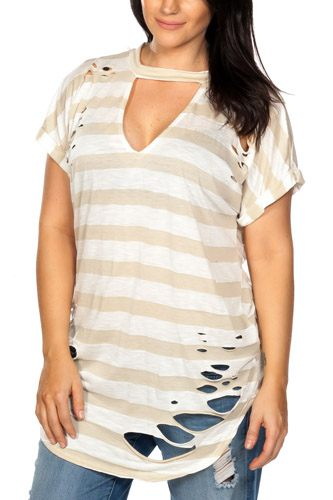 Ladies fashion plus size round neckline striped and destroyed cutout tee-id.CC35456