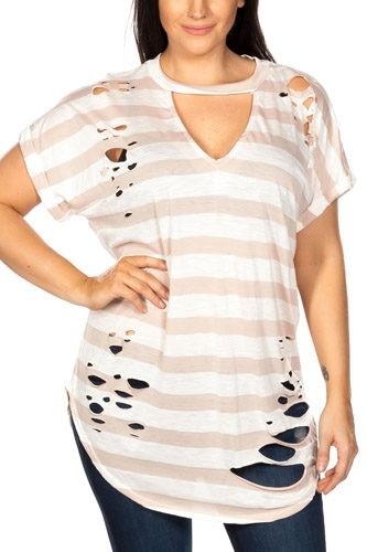 Ladies fashion plus size round neckline striped and destroyed cutout tee-id.CC35456b