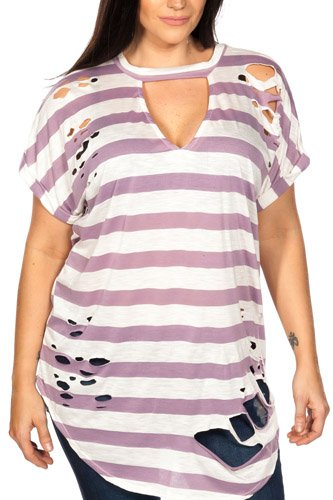 Ladies fashion plus size round neckline striped and destroyed cutout tee-id.CC35456d