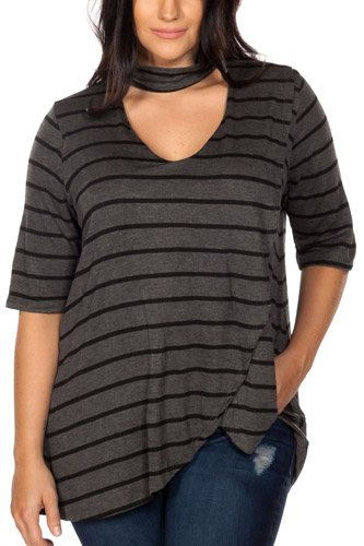 Ladies fashion plus size mock neck choker keyhole stripe asymmetric top-id.CC35459a