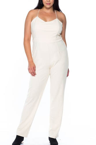 Ladies fashion plus size ivory thin straps v neck x cross back zipper  jumpsuit-id.CC35462