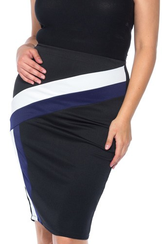 Ladies fashion plus size black blue white color block pencil midi skirt-id.CC35464