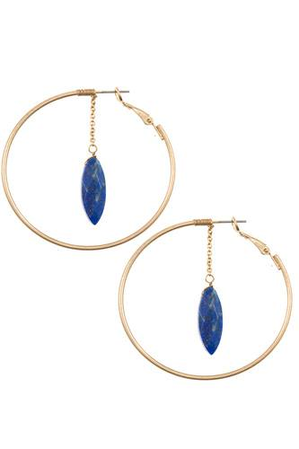 Ladies faceted semi precious marquise link round earring -id.CC35471