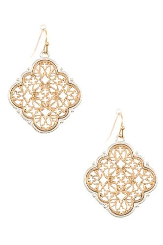 Ladies two tone cut out dangle earring-d.35473