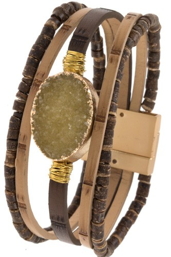 Ladies wood like multi row detaield bracelet -id.CC35476