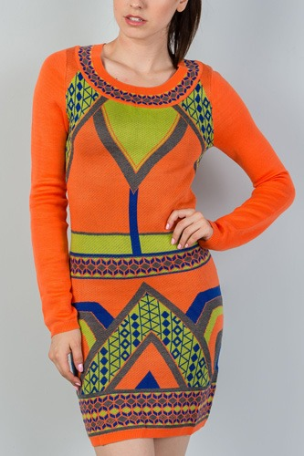 Ladies fashion long sleeve orange geo design sweater mini dress-id.CC35489