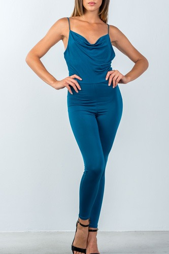 Ladies fashion low back cowl neck bodycon jumpsuit-id.CC35490