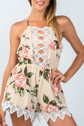 Ladies fashion all over flower print sleeveless crochet trim romper-id.CC35492