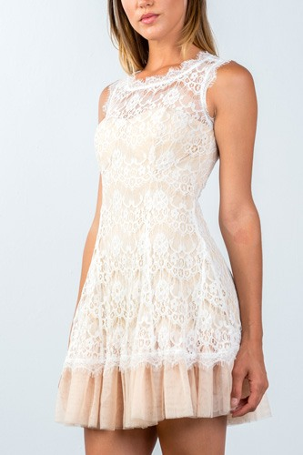 Ladies fashion sleeveless lace contrast tulle hem mini dress-id.CC35493a