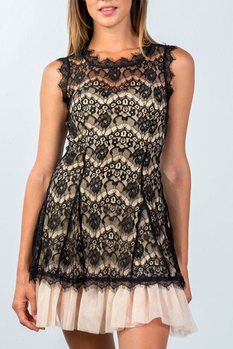Ladies fashion sleeveless lace contrast tulle hem mini dress-id.CC35493b