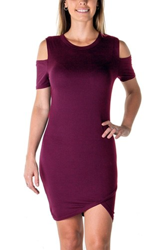 Ladies fashion casual cold shoulder with side slit mini dress-id.CC35497b