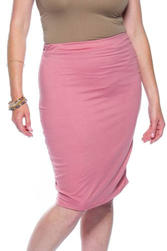 Ladies fashion plus size pink midi bodycon skirt-id.CC35515