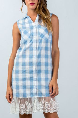 Lace Plaid Shirt Dress-id.CC35518a
