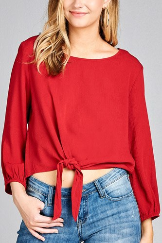 Ladies fashion long sleeve round neck front bow tie crinkle gauze woven top-id.CC35536b