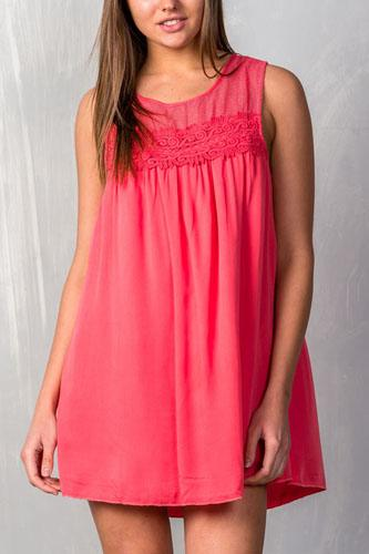 Ladies fashion sleeveless boho crochet-lace yoke shift dress-id.CC35539