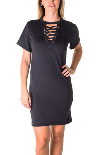 Ladies fashion knit bodycon v neck lace up mini dress-id.CC35550