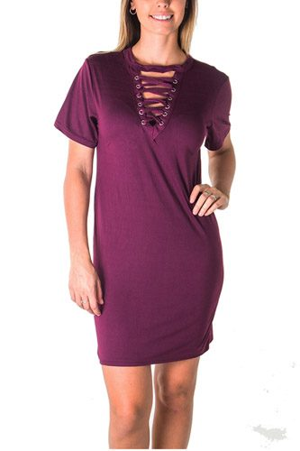 Ladies fashion knit bodycon v neck lace up mini dress-id.CC35550a