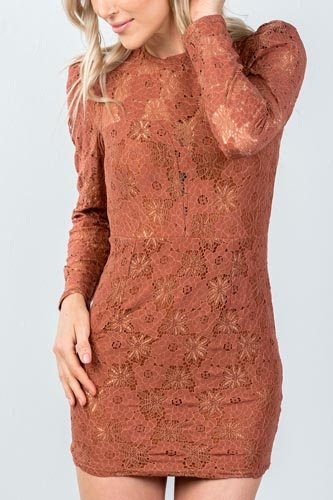 Ladies fashion toffee all floral lace gathered shoulder mini dress-id.CC35573