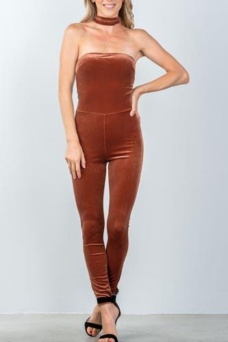 Ladies fashion zipper race back closure velvet choker jumpsuit-id.CC35574a