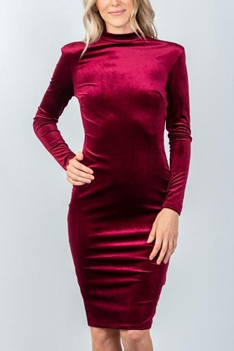 Ladies fashion long sleeve velvet burgundy key hole back midi dress-id.CC35575