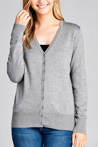 Ladies fashion long sleeve v-neck classic sweater cardigan-id.CC35586h