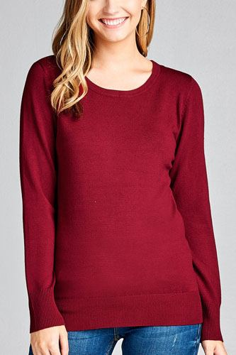 Ladies fashion long sleeve crew neck classic sweater-id.CC35587e