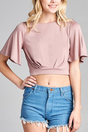 Ladies fashion short bell sleeve round neck wrap w/bow tie rayon spandex crepe knit top-id.CC35588c