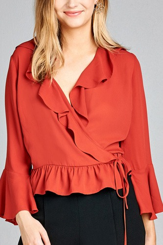 Ladies fashion 3/4 bell sleeve wrap w/ruffle side tie closure flare bottom wool dobby woven top-id.CC35590