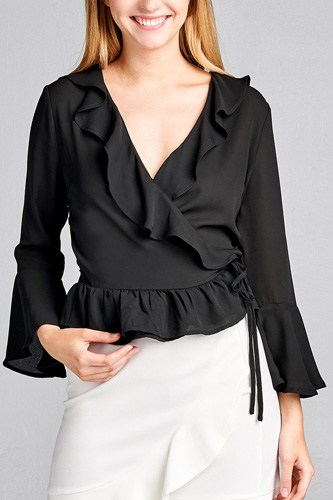 Ladies fashion 3/4 bell sleeve wrap w/ruffle side tie closure flare bottom wool dobby woven top-id.CC35590a