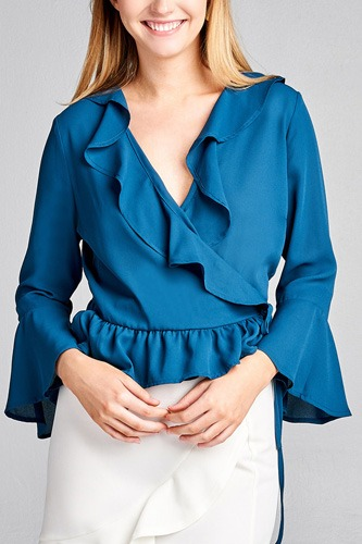Ladies fashion 3/4 bell sleeve wrap w/ruffle side tie closure flare bottom wool dobby woven top-id.CC35590b