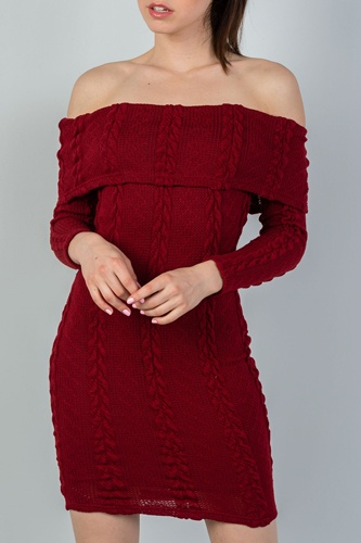 Ladies fashion burgundy ribbed long sleeve bodycon sweater dress-id.CC35601