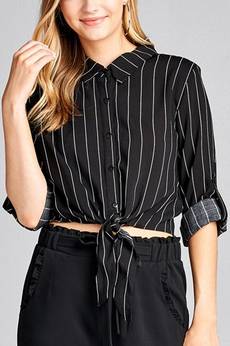 Ladies fashion 3/4 roll up sleeve front self tie w/button stripe rayon challis woven top-id.CC35614a