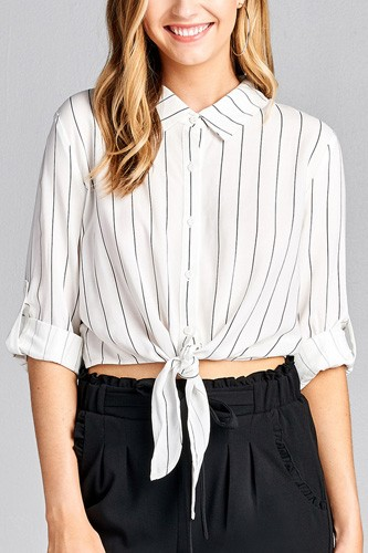 Ladies fashion 3/4 roll up sleeve front self tie w/button stripe rayon challis woven top-id.CC35614b