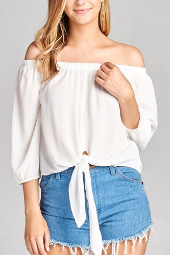 Ladies fashion 3/4 sleeve off the shoulder front self-tie crepe woven top-id.CC35616f