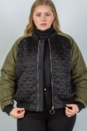 Ladies fashion plus size black & olive quilted bomber jacket-id.CC35621