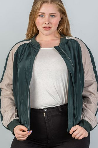 Ladies fashion plus size color block stand collar zipper long sleeve bomber jacket-id.CC35622a