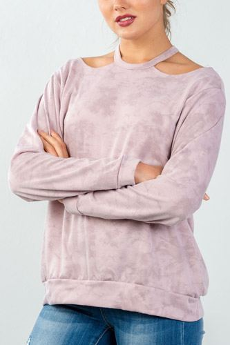 Ladies fashion acid washed rose round neck cutout pullover-id.CC35629a