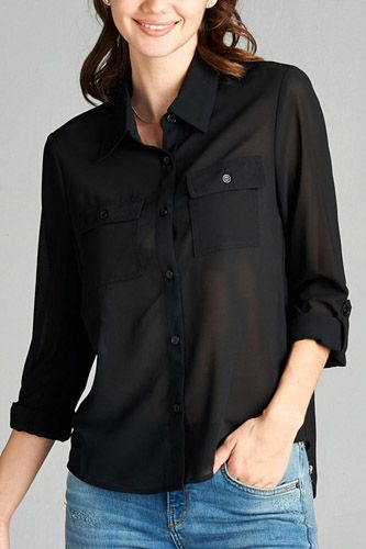 Ladies fashion long sleeve front pocket chiffon blouse w/ back button detail -id.CC35641a